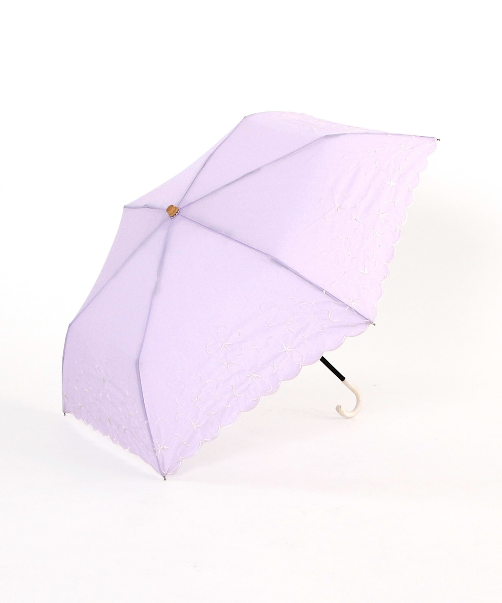シャンブレーフラワー晴雨兼用折りたたみ傘 日傘