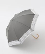 シャンブレーレース付き晴雨兼用長傘 日傘