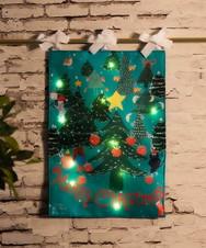 LEDライト付きリバーシブルクリスマスタペストリーS/ベリー・アクトゥグル